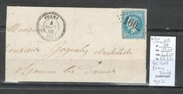 France - Lettre - Yvert 29 - GC 1602 + Type 22 FUANS - Doubs -1869 - Marcofilia (sobres)