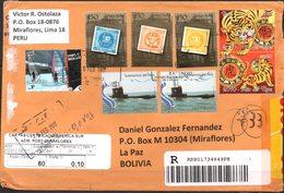 Peru 2012  YT1815, 1865, 1874-75, 1718-20 Lima - La Paz. Submarino, Deporte Aventura, Año Lunar Tigre, Sello Sobre Sello - Perù
