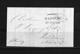 "1852 DÄNEMARK  → Forwarder Brief Elseneur Mit Stempel Der Agenten Gebr.Bordier, HAMBURG/A"" RS & Schmetterlingsstempel - Danimarca"