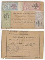 1943+1944+1945+1946+1947 - FISCAUX VELOCIPEDES COLLES RECTO-VERSO Sur CARTE RECEPISSE De DECLARATION De 1941 De PARIS - Fiscaux