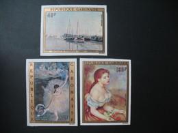 Timbre ND Non Dentelé Neuf ** MNH - Imperf  Gabon  N° PA 146 - 147 - 148 Tableaux Impressionniste Monet Degas Renoir - De Gaulle (General)