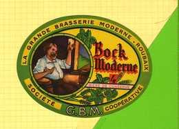 Etiquette Ancienne  De Biere Medaillon  : Brasserie Moderne GBM  Cooperative ROUBAIX - Bière