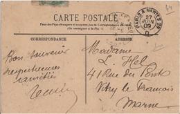 FRANCE CACHET AMBULANT PARIS A NANTES 2° D SUR CP - Postmark Collection (Covers)