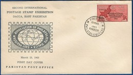 PAKISTAN 1963 MNH FDC FIRST DAY COVER INTERNATIONAL STAMP EXHIBITION DACCA MAP WEST PAKISTAN OVERPRINTED SURCHARGED - Pakistan