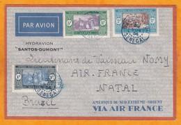 1934 - Enveloppe De Dakar Avion, Sénégal Vers Natal, Brésil Sur Hydravion Blériot 5190 Santos Dumont Air France - Sénégal (1887-1944)