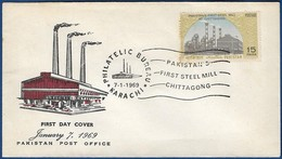 PAKISTAN 1969 MNH FDC FIRST DAY COVER PAKISTAN'S FIRST STEEL MILL, CHITTAGONG, NATURAL RESOURCE - Pakistan