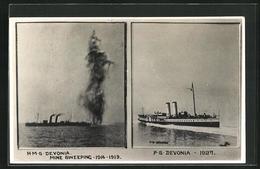 AK Passagierschiff H.M.S. Devonia Mine Sweeping 1914-1919, P.S. Devonia 1928 - Piroscafi