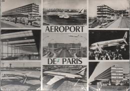 CPSM Noir Et Blanc-grand Format C5 PARIS - Aéroport D'Orly-multivues- Avions - Aéroports De Paris