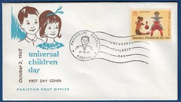 PAKISTAN 1967 MNH FDC FIRST DAY COVER  UNIVERSAL CHILDREN'S DAY, CLAY TOYS, CHILD, CHILDREN - Pakistan