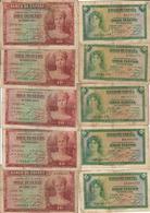 Spain Lot 5 X 5 Pesetas & 5 X 10 Pesetas 1935 - [ 2] 1931-1936 : Republic
