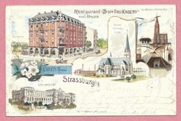 67 - GRUSS Aus STRASSBURG - STRASBOURG - Restaurant Zu Den Drei Kaisern- Hans SCHLICK - Litho Couleur GABELMANN - Straatsburg
