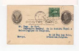 USA. Entier Postal One Cent Timbre Effigie CAD Springfield 1905 6 Lignes Ondulées. Pour Bruxelles. (2637x) - Entiers Postaux