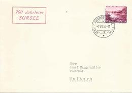 """Sonderstempel  """"700 Jahrfeier Sursee""""          1956 - Svizzera"""