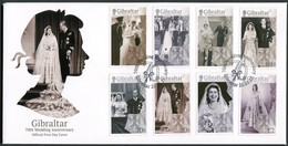 2017 Gibraltar Queen Elizabeth 70th Wedding Anniversary First Day Covers. Set + Miniature Sheet On 2 FDCs - Gibraltar
