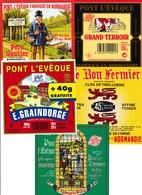 Étiquettes De Fromage (Lot De 5) :  PONT L'EVÊQUE, Saint-Hilaire De Briouze, Normandie, Athis De L'Orne, Père Gautier - Cheese