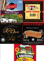 Étiquettes De Fromage (Lot De 5) :  PONT L'EVÊQUE, Saint-Hilaire De Briouze, Levasseur, E. Graindorge - Cheese