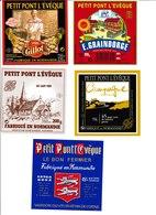 Étiquettes De Fromage (Lot De 5) :  PETIT PONT L'EVÊQUE, Gillot, Normandie, E. Graindorge, Saint-Hilaire De Briouze - Cheese