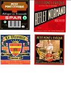 Étiquettes De Fromage (Lot De 4) :  PETIT PONT L'EVÊQUE, Gillot, Normandie, Vicomte, SPAR, Saint-Sauveur-le-Vicomte - Cheese