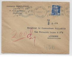 1951 - GANDON - ENVELOPPE TAXEE (VOIR DOS) Par AVION De ANGOULEME (CHARENTE) => LISBONNE (PORTUGAL) - Marcofilia (sobres)