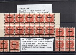 Lot De 16 Timbres Libération De LILLE Dont 3 Variétés Avec Barre Verticale Cassée - Liberazione
