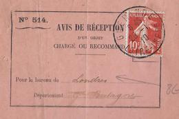 1910 - SEMEUSE Sur AVIS De RECEPTION De LETTRE RECOMMANDEE De GUERANDE (LOIRE INFERIEURE) => LONDRES (GRANDE BRETAGNE) ! - Postmark Collection (Covers)