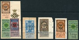 Russia 7 X Imperial Revenue Stamps, Faberge Fiscal - 1857-1916 Empire