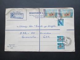 Afrika 1969 Tansania / Tanzania Registered Mail Ngambo Zanzibar Nach Dresden In Der DDR Motivmarke Fische - Tanzanie (1964-...)