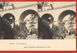 MONACO - Carte Stéréo  Le Merveilleux- Pont Sainte Dévote- -cpa Dos Non Divisé - Spielbank