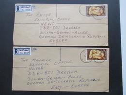 Nigeria 1969 Air Mail / Luftpost Einschreiben Handschriftl Geänderter R Zettel Fasanya Nach Dresden Mit Je 8 Stempeln - Nigeria (1961-...)