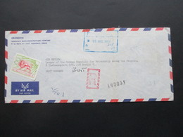 Iran 1969 Air Mail / Luftpost Iranian Documentation Centre Teheran - Berlin Registered Letter! Roter Stempel R Und Verme - Iran