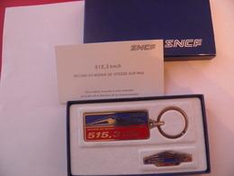PORTE CLE-METAL-et PINS-SNCF-Record Du MONDE De Vitesse-TGV-1990 DANS  SON EMBALLAGEd Origine-TBE - Pin's