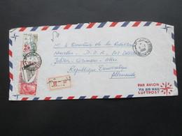 Afrika 1969 Tunesien Monastir Air Mail / Luftpost Nach Dresden Mit Gestempeltem R Zettel - Tunisia (1956-...)