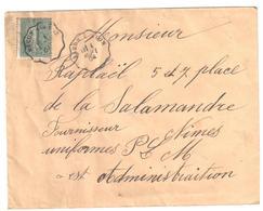 MACON à LYON Lettre Convoyeur Type 1 Ob 1/9/ 1904 15 C Semeuse Lignée Vert Yv 130 - Railway Post