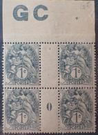 DF40266/889 - 1900 - TYPE BLANC - N°107g (IA) NEUFS**(2)/*(2) BdF PAPIER GC Mill 0 Avec Manchette GC - 1900-29 Blanc