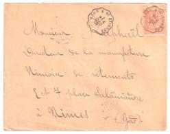 LYON à St ETIENNE Lettre Convoyeur Type 1 Ob 4/12/ 1901 15 C Mouchon Yv 117 - Railway Post