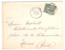 LYON à DIJON Lettre Convoyeur Type 1 Ob 21/3/ 1906 15 C Semeuse Lignée Vert Yv 130 - Railway Post