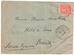 LONGUYON à CHARLEVILLE Lettre Convoyeur Type 3 Ob 26/7/ 1929 50 C Semeuse Lignée Yv 199 - Railway Post
