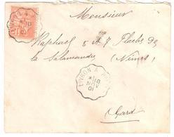 LIVRON à PRIVAS Lettre Convoyeur Type 2 Ob 18/11/ 1901 15 C Mouchon Yv 117 - Railway Post