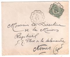 LES SALINS D'HYERES à LA PAULINE Lettre Convoyeur Type 2 Ob 8/10/ 1904 15 C Semeuse Lignée Vert Yv 130 - Railway Post