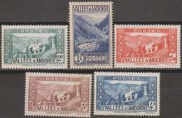 Andorra Francese 1937 MiN°70 Selezione 5v MNH/** - Andorre Français