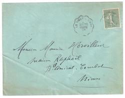 LE VIGAN  à NIMES Lettre Convoyeur Type 1 Ob 28/3/ 1903 15 C Semeuse Lignée Vert Yv 130 - Railway Post