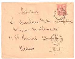 LE PUY à St ETIENNE Lettre Convoyeur Type 1 Ob 11/9/ 1903 15 C Mouchon Yv 125 - Railway Post