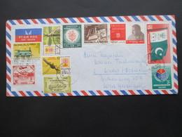 Pakistan 1965 / 67 Air Mail / Luftpost 2 Belege Mit Schöner Buntfrankatur! Auch First Jet Flight Karrachi - Dacca Usw. - Pakistan