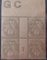 DF40266/896 - 1907 - TYPE BLANC - N°107 (IA) NEUFS**(3)/*(1) PAPIER GC Chamois Mill 7 - 1900-29 Blanc