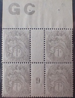 DF40266/897 - 1909 - TYPE BLANC - N°107 (IA) NEUFS**(2)/*(2) PAPIER GC Mill 9 - 1900-29 Blanc