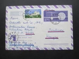 Polen Sopot 1973 Luftpost Ganzsachen Umschlag Mit Zusatzfrankatur Nach Mombasa Kenya An Das Ambassador House / Botschaft - Briefe U. Dokumente