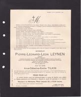 HASSELT LEYNEN Pierre-Léonard Industriel Conseiller Communal 1869-1941 Famille TILKIN BERREWAERTS PEETERS WARNANTS - Overlijden