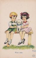 """Illustrateur MATEJA - Enfants  Assis Sur Un Banc / Chien Blanc."""" Trois Amis """" - Edit D'Art BelFrance 421 (lot Pat 90) - Künstlerkarten"""