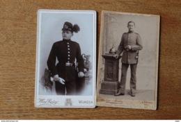 2 Cdv  Militaire  1914 1918  Chasseur Saxon Et Soldat Bavarois  Beau Casque à Pointe  WWI - Guerra, Militari
