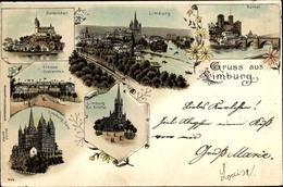 Lithographie Limburg An Der Lahn, Dom, Schloss Oranienstein, Dietkirchen, Runkel - Otros
